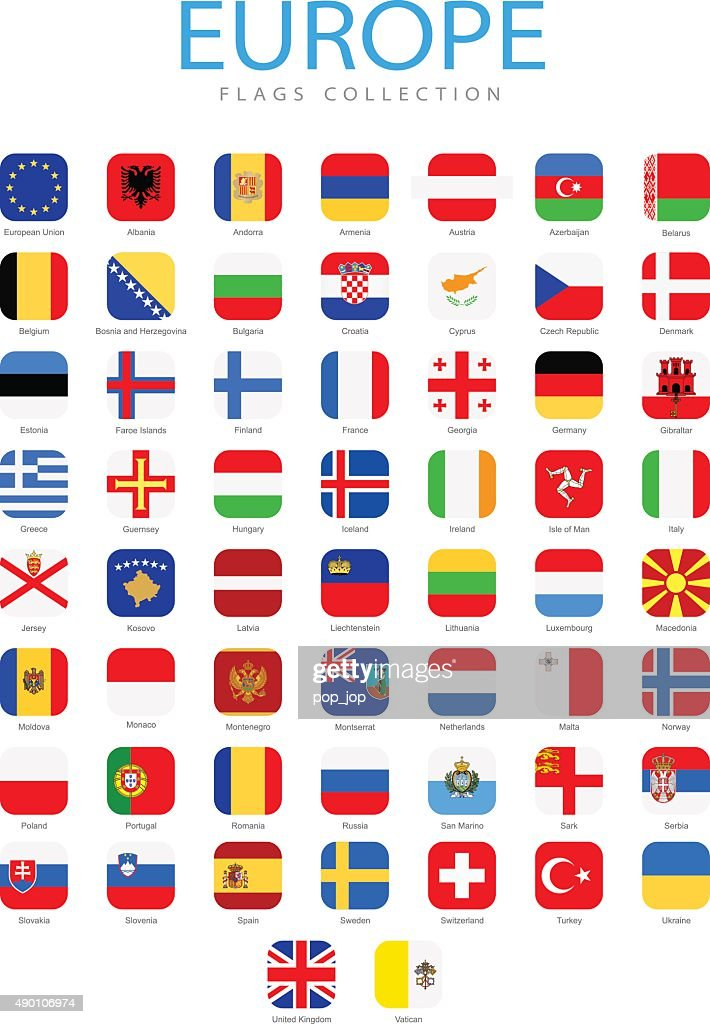 Europe - Square Flag Icons - Illustration