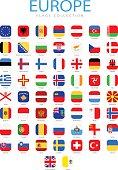 Europe - Square Flag Icons - Illustration