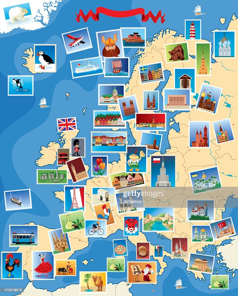 Europe Stamps map