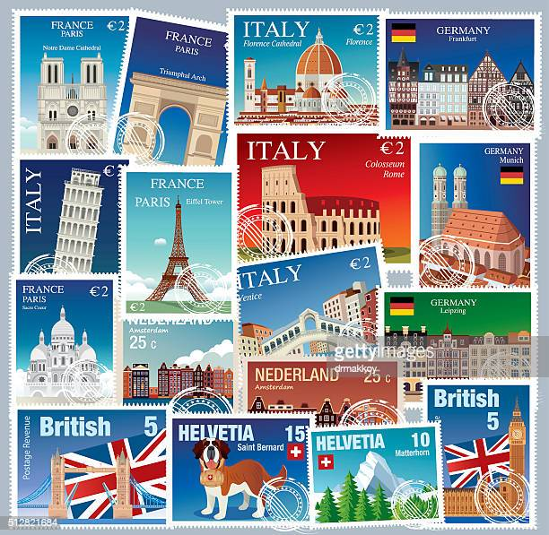 europe stamps - tours france stock illustrations, clip art, cartoons, & icons