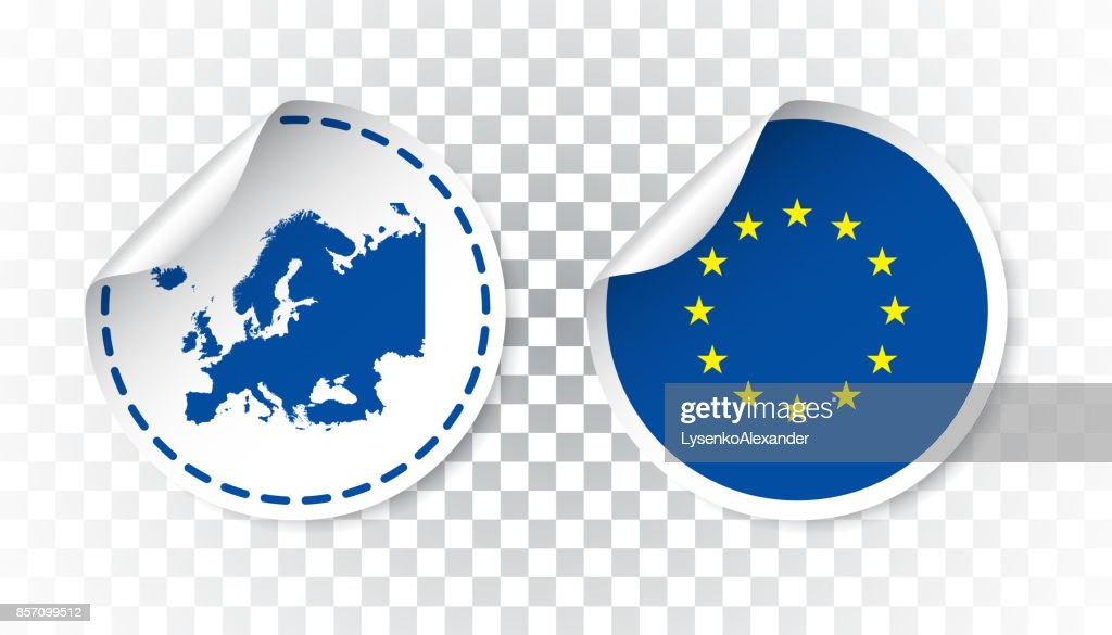 Europe sticker with flag and map. European Union label, round tag with country. Vector illustration on isolated background.