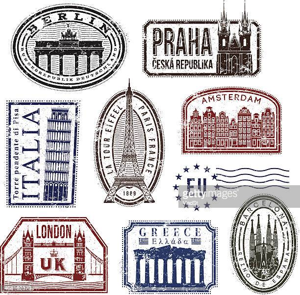 europe travel rubber stamps - greece stock illustrations