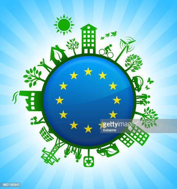 illustrazioni stock, clip art, cartoni animati e icone di tendenza di firma dell'unione europea sul contesto verde per la conservazione dell'ambiente - la comunità europea