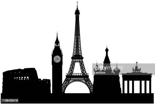illustrazioni stock, clip art, cartoni animati e icone di tendenza di europe (all buildings are separate and complete) - monumento