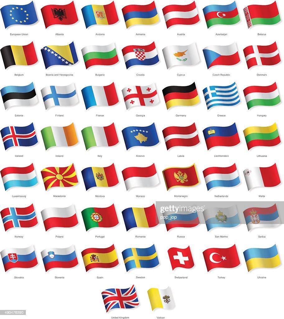 Europe - Waving Flags - Illustration