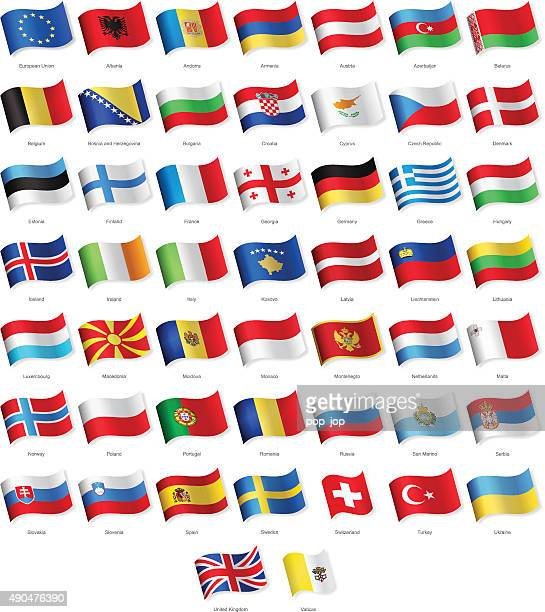 europe - waving flags - illustration - all european flags stock illustrations