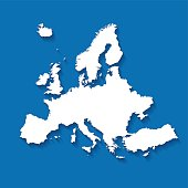 Europe white map on blue plain background with shadow