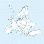 Europe white map on light blueprint grid background