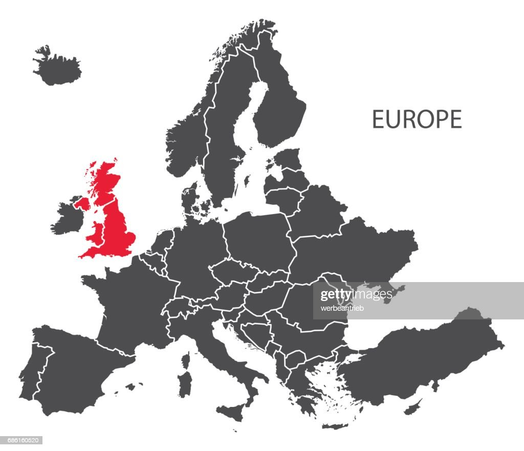 Europe with countries Map dark grey including highlighted Britain in red