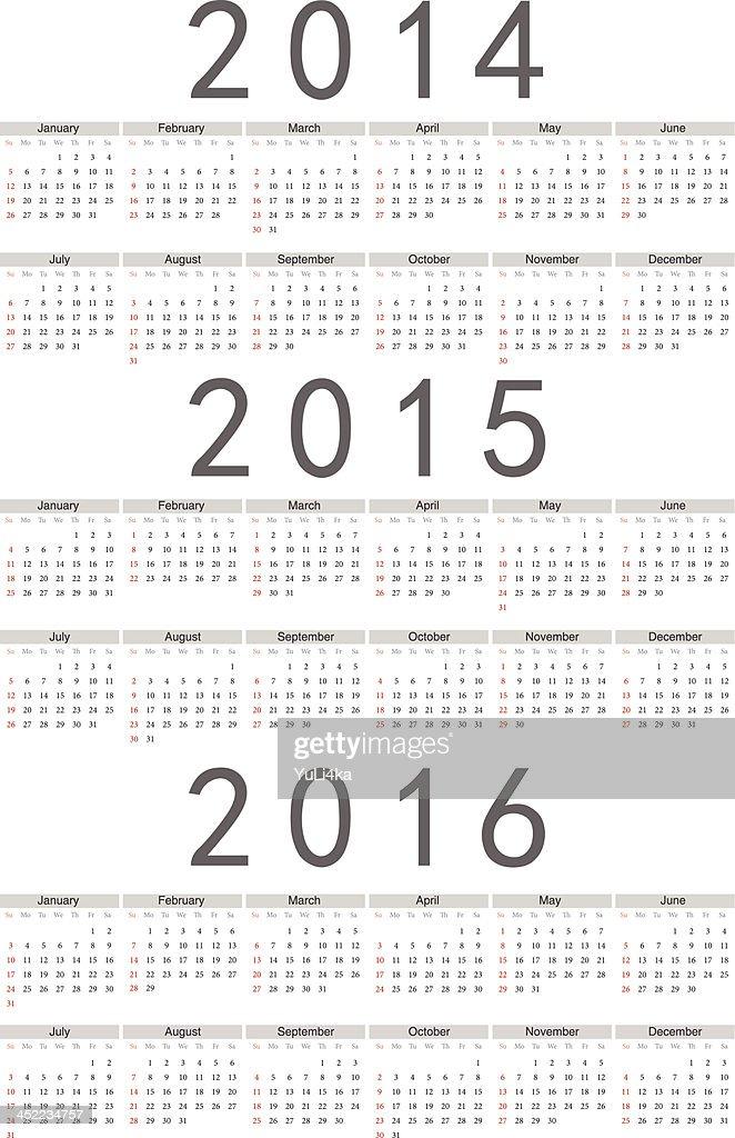 European 2014, 2015, 2016 year vector calendar