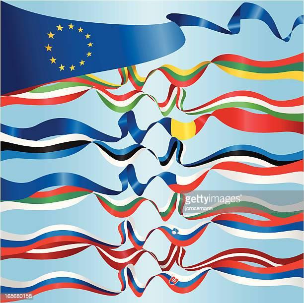 ヨーロッパのバナー - スロベニア国旗点のイラスト素材/クリップアート素材/マンガ素材/アイコン素材