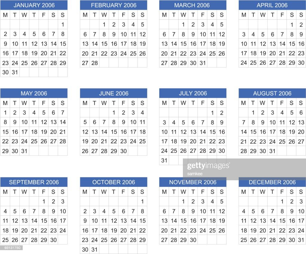 European Calendar 2006 Vector Vector Art Getty Images