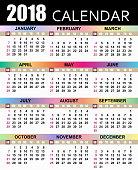 European calendar 2018