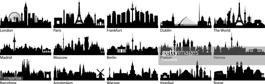 European Cities (All Buildings Are Complete and Moveable) : Stock Illustration