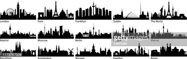 ilustrações de stock, clip art, desenhos animados e ícones de european cities (all buildings are complete and moveable) - horizonte urbano