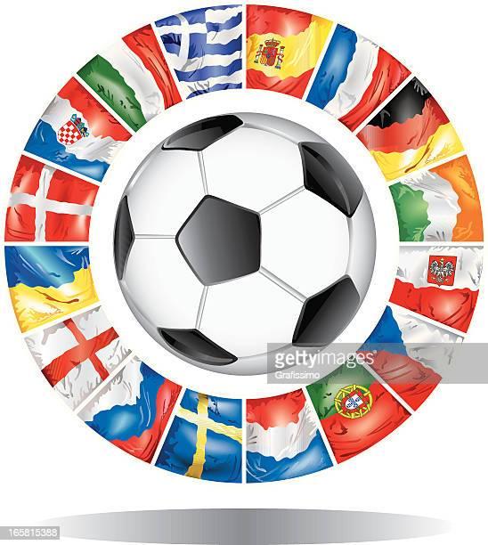 European Football Championship 2012 flags of participants