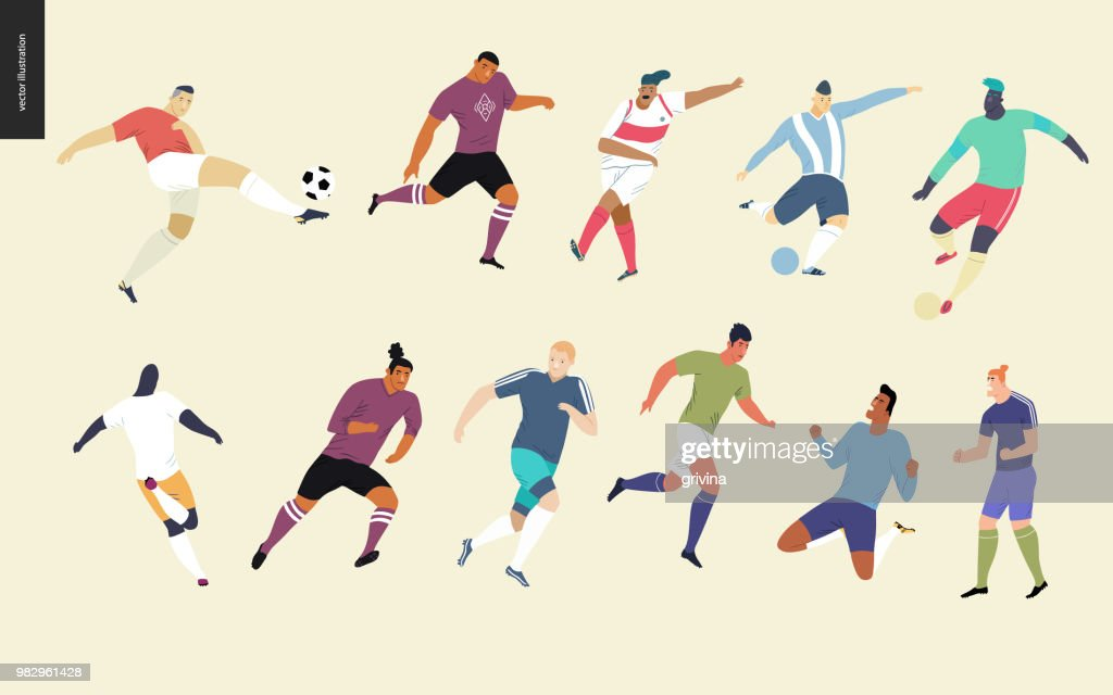 European football, soccer players set