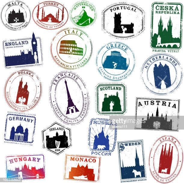 europäische symbol reisen briefmarken - monaco stock-grafiken, -clipart, -cartoons und -symbole