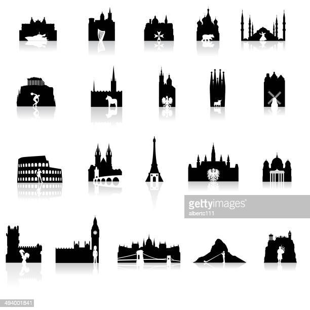 bildbanksillustrationer, clip art samt tecknat material och ikoner med european icons super set - international landmark