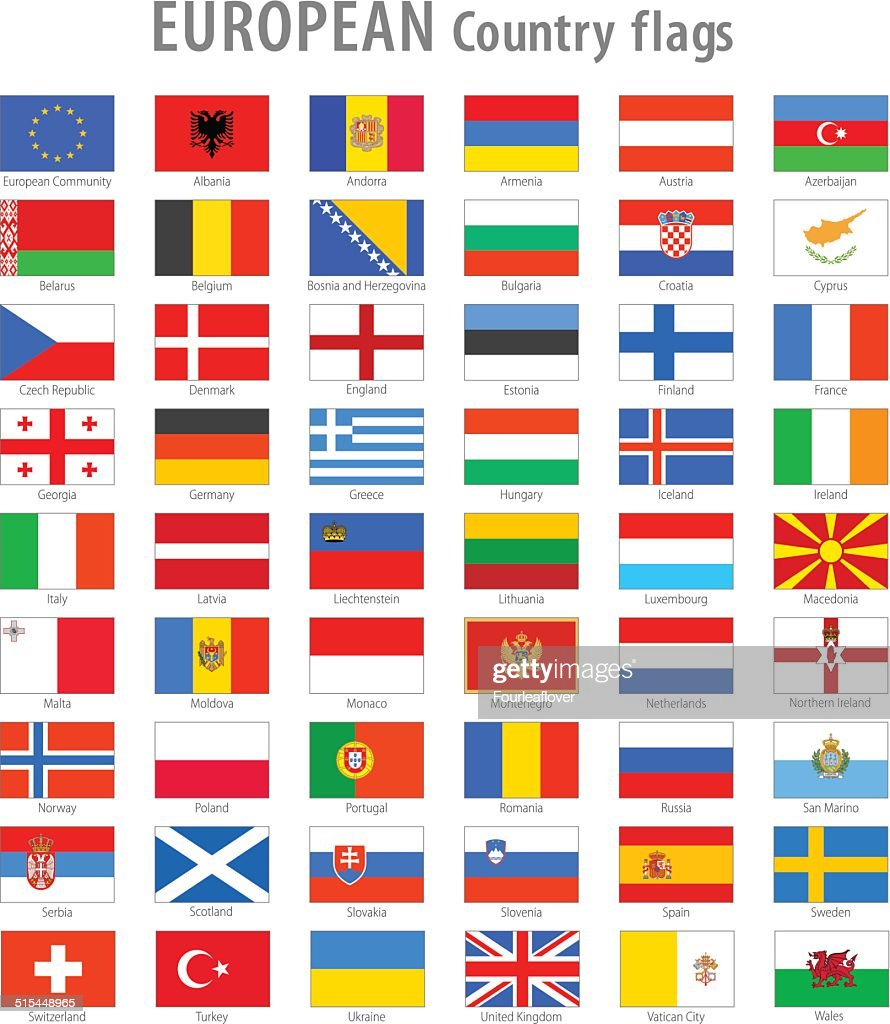 European National flag Vector Icon set