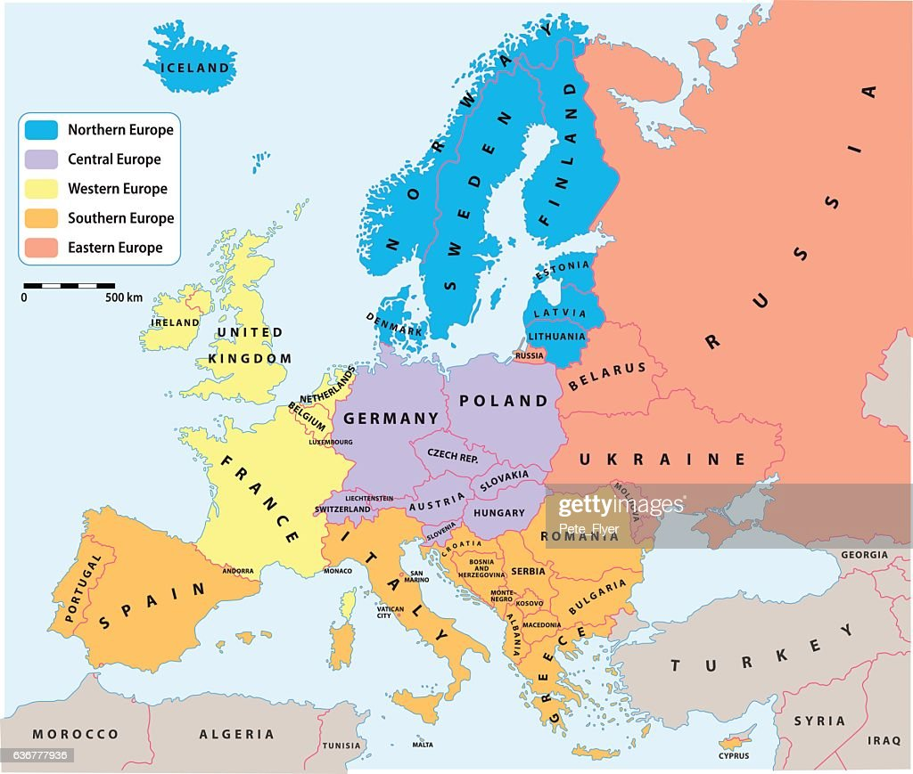 European regions on Europe political map