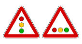 European road sign for traffic light, vertical and horizontal