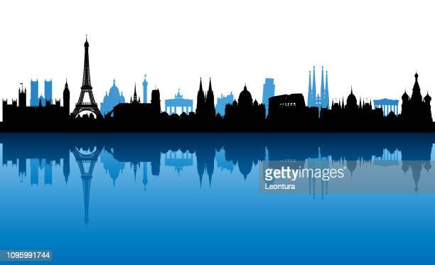 european skyline (all buildings are complete and moveable) - tuscany stock illustrations, clip art, cartoons, & icons
