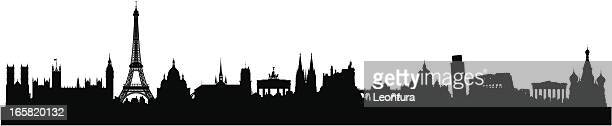 european skyline (buildings are detailed, moveable and complete) - red square stock illustrations, clip art, cartoons, & icons
