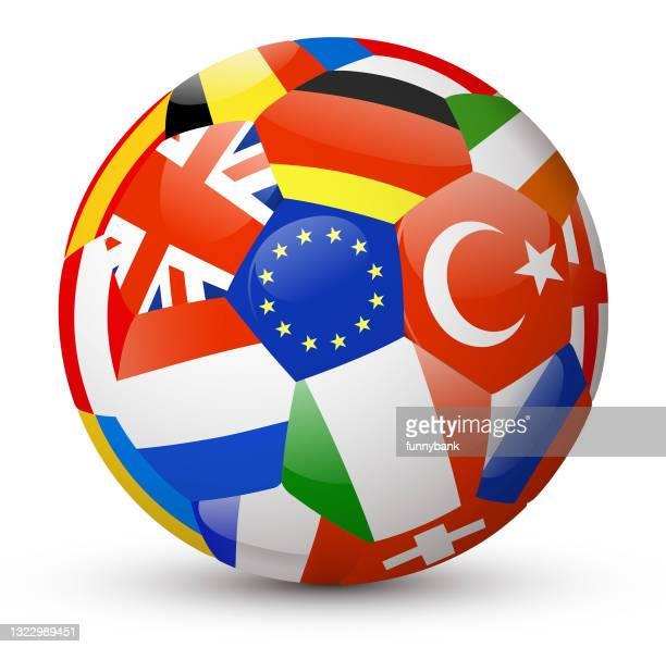 ilustraciones, imágenes clip art, dibujos animados e iconos de stock de balón de fútbol europeo - european football championship