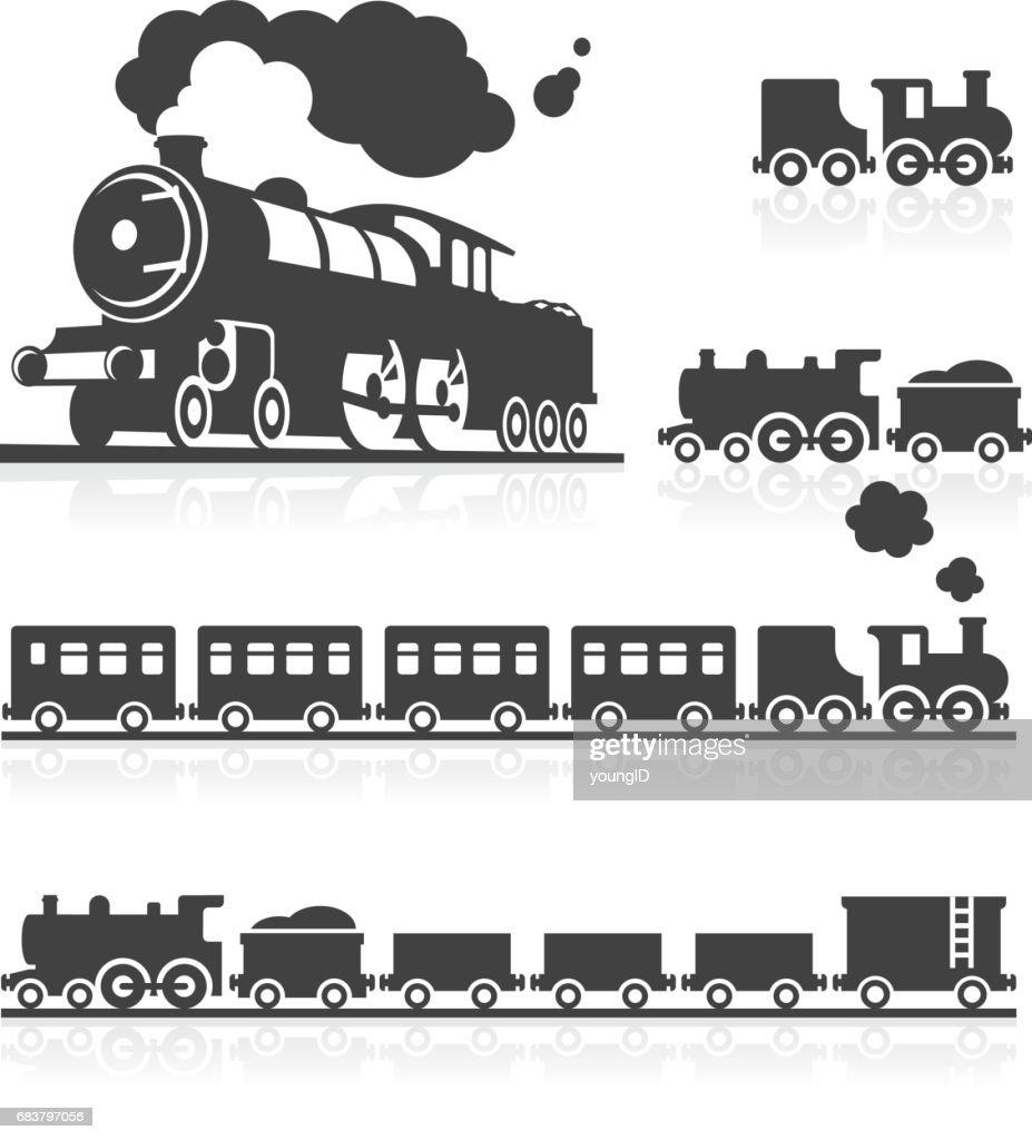 European Steam Train Icon Set : stock illustration