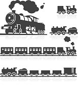 European Steam Train Icon Set