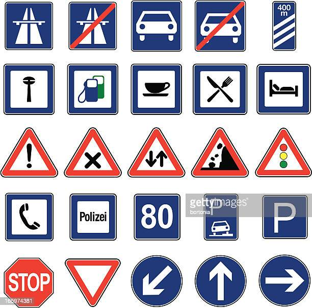 european traffic signs icon set - parking sign stock illustrations