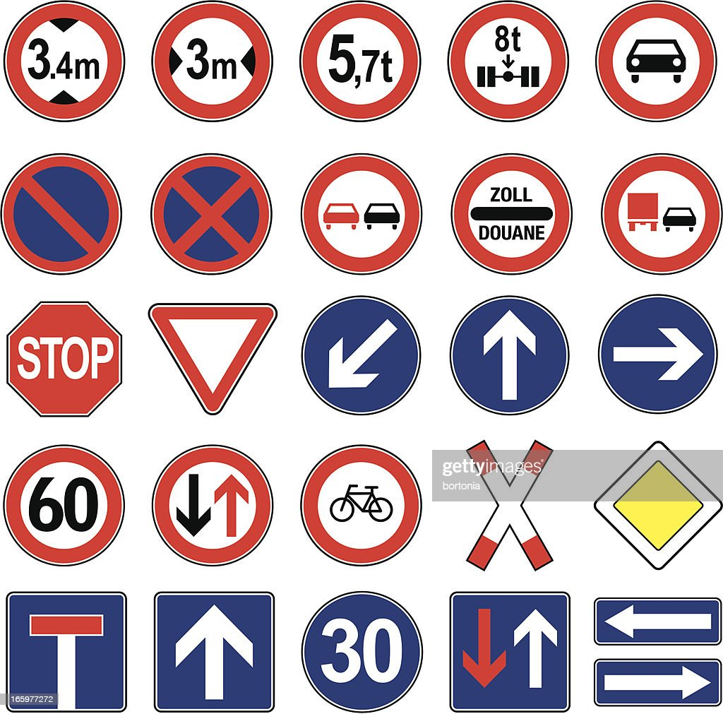 European Traffic Signs Icon Set