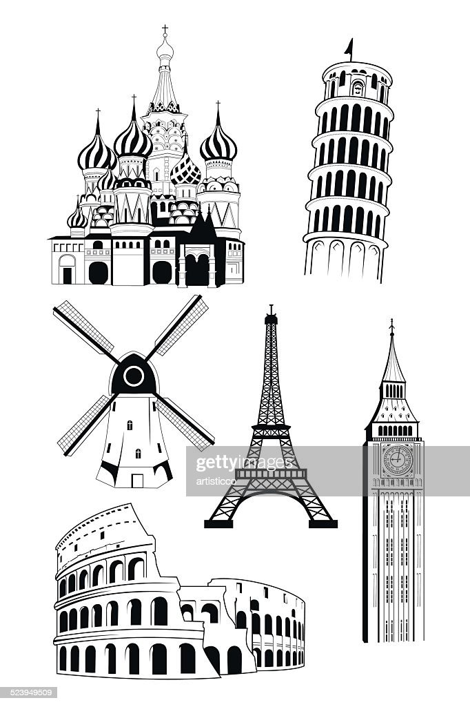 European travel destinations in ink style