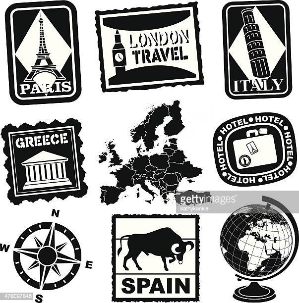european travel icons or luggage labels - luggage tag stock illustrations, clip art, cartoons, & icons