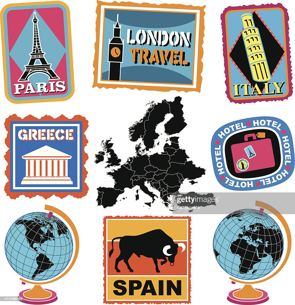 european travel stickers or luggage labels vector art getty images