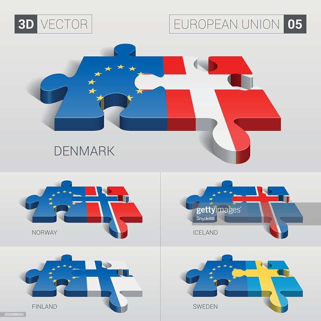 European Union and Flag. 3d vector puzzle. Set 05.