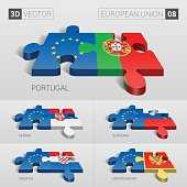 European Union and Flag. 3d vector puzzle. Set 08.