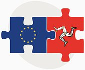 European Union and Isle of Man Flags in puzzle