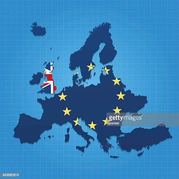 european union and united kingdom map on blue grid background - brexit stock illustrations, clip art, cartoons, & icons