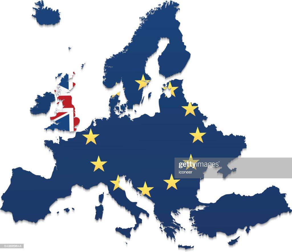 European Union And United Kingdom Map On White Background Vector - United kingdom map vector