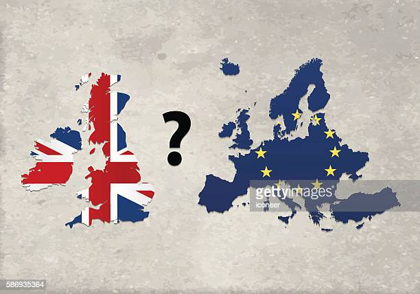 european union and united kingdom with question mark concrete wall - brexit stock illustrations, clip art, cartoons, & icons