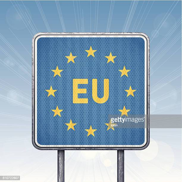 european union border traffic sign with european flag - signal flare stock illustrations, clip art, cartoons, & icons