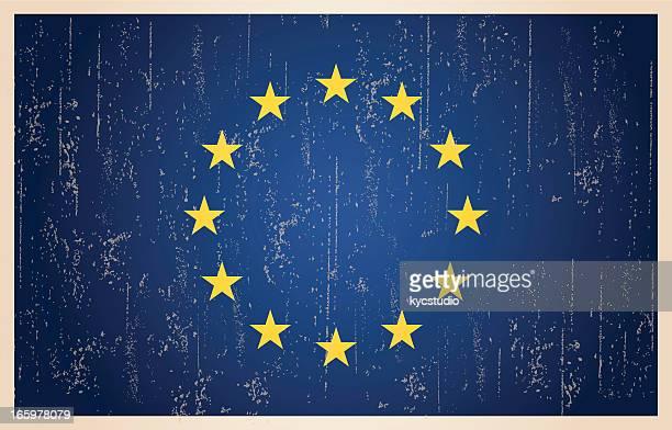 illustrazioni stock, clip art, cartoni animati e icone di tendenza di bandiera dell'unione europea nel grunge e stile vintage. - la comunità europea