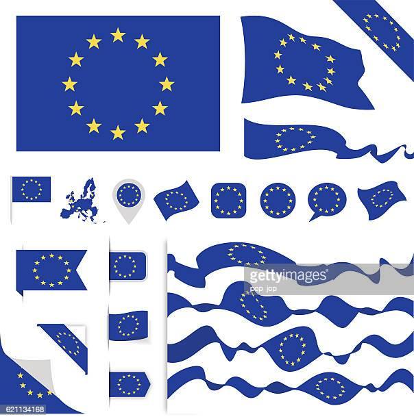 illustrazioni stock, clip art, cartoni animati e icone di tendenza di bandiera dell'unione europea set - la comunità europea