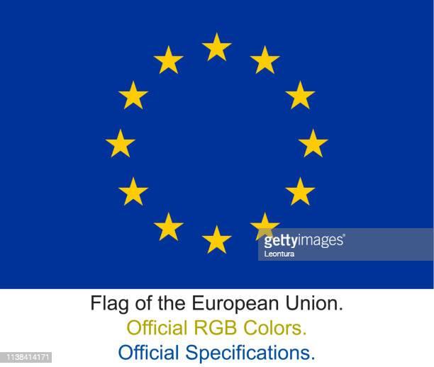 flagge der europäischen union (offizielle rgb-farben, offizielle spezifikationen) - europe stock-grafiken, -clipart, -cartoons und -symbole