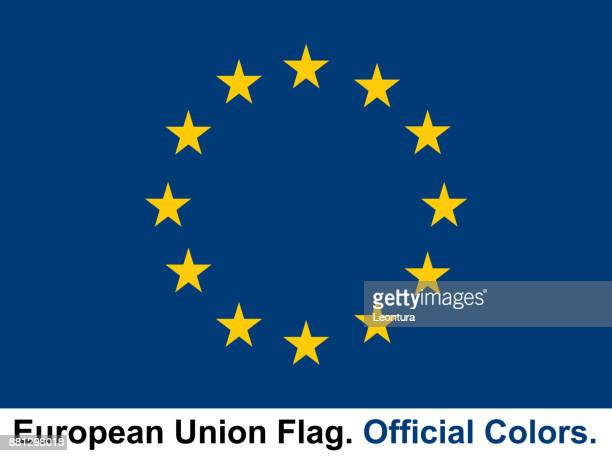 european union flag (official colors) - all european flags stock illustrations
