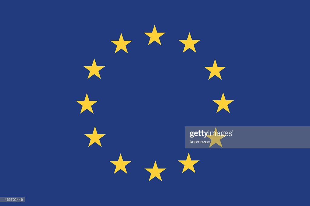 European Union flag with blue background and yellow stars : stock illustration