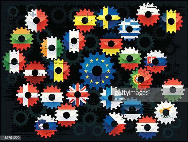 european union flags cogs