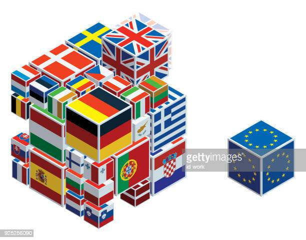 europäische union flaggen auf würfel - europäische union stock-grafiken, -clipart, -cartoons und -symbole